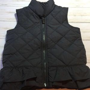 Osh Kosh Quilted Ruffled Black Vest Girl 4